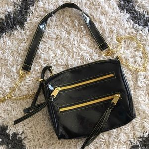 NWOT Black and Gold Leather Cross-Body Bag
